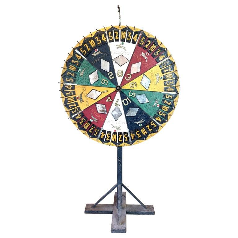 Antique Folk Art Horse Race Betting Game Wheel