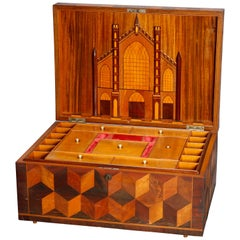 Antique Folk Art Inlaid Parquetry Pictorial Sewing Box with Church, circa 1890