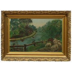 Antique Folk Art Landscape Oil Painting on Board with Sheep, Circa 1890