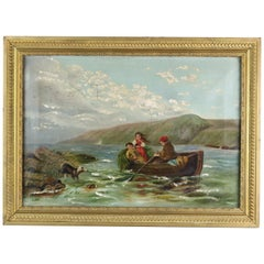Antique Folk Art Oil on Canvas Painting of Children in Boat, Circa 1890
