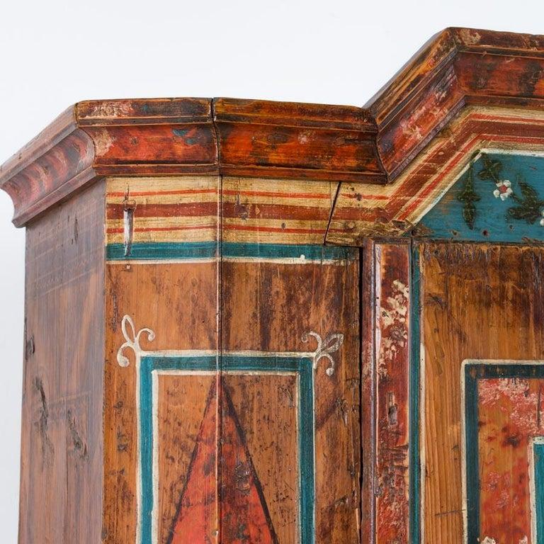 Wood Antique Folk Art Painted Austrian Armoire For Sale