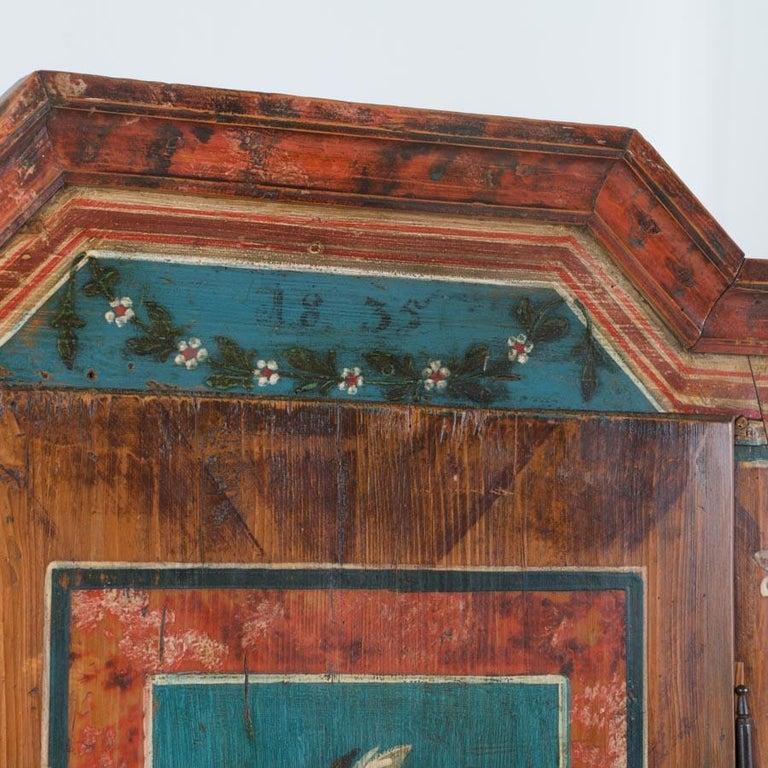 Antique Folk Art Painted Austrian Armoire For Sale 1