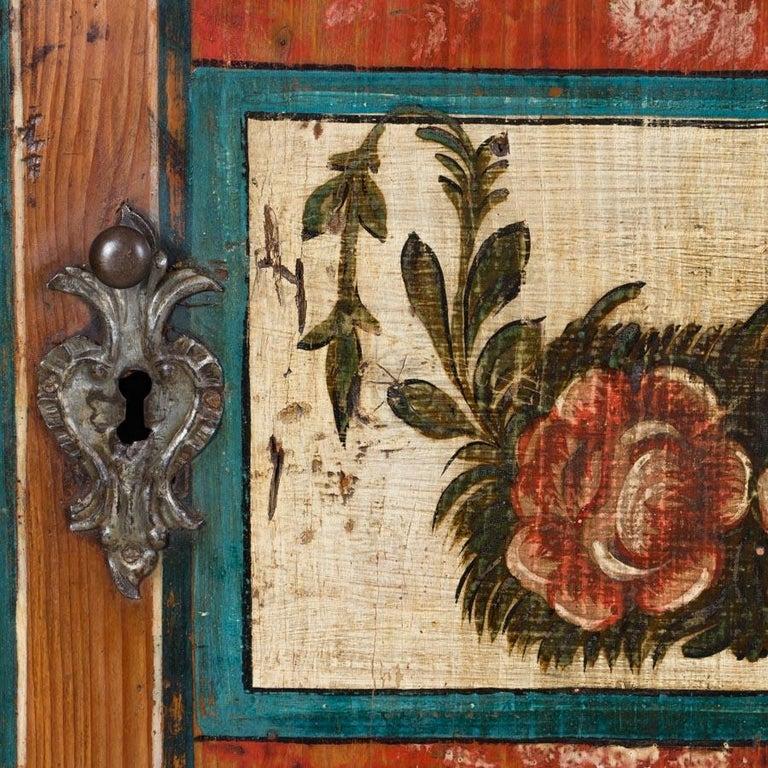 Antique Folk Art Painted Austrian Armoire For Sale 2