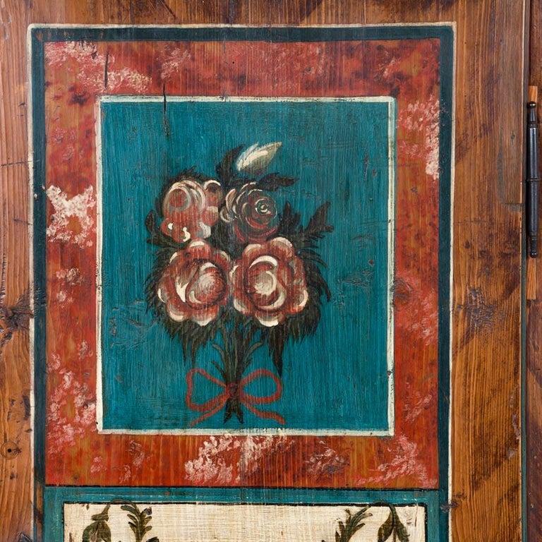 Antique Folk Art Painted Austrian Armoire For Sale 3