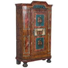 Antique Folk Art Painted Austrian Armoire