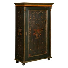 Antique Folk Art Painted Single Door Armoire