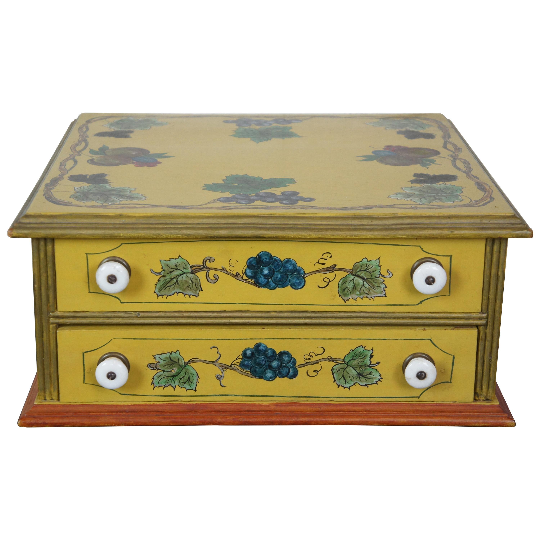 Antique Folk Art Painted Spool Display Cabinet Jewelry Keepsake Apothecary