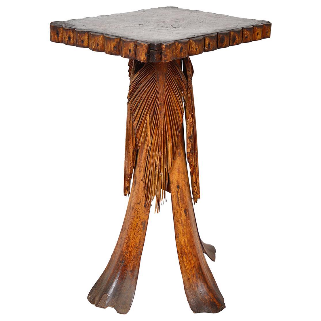 Antique Folk Art Palm Frond Wood Occasional Table Tramp Art Tiki Decorative