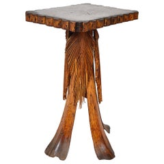 Antique Folk Art Palm Frond Wood Occasional Table Tramp Art Tiki Decorative