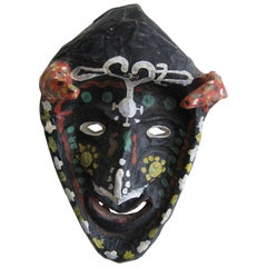 Antique Folk Art Papier Paper Mâché Mardi Gras Halloween Voodoo Costume Mask