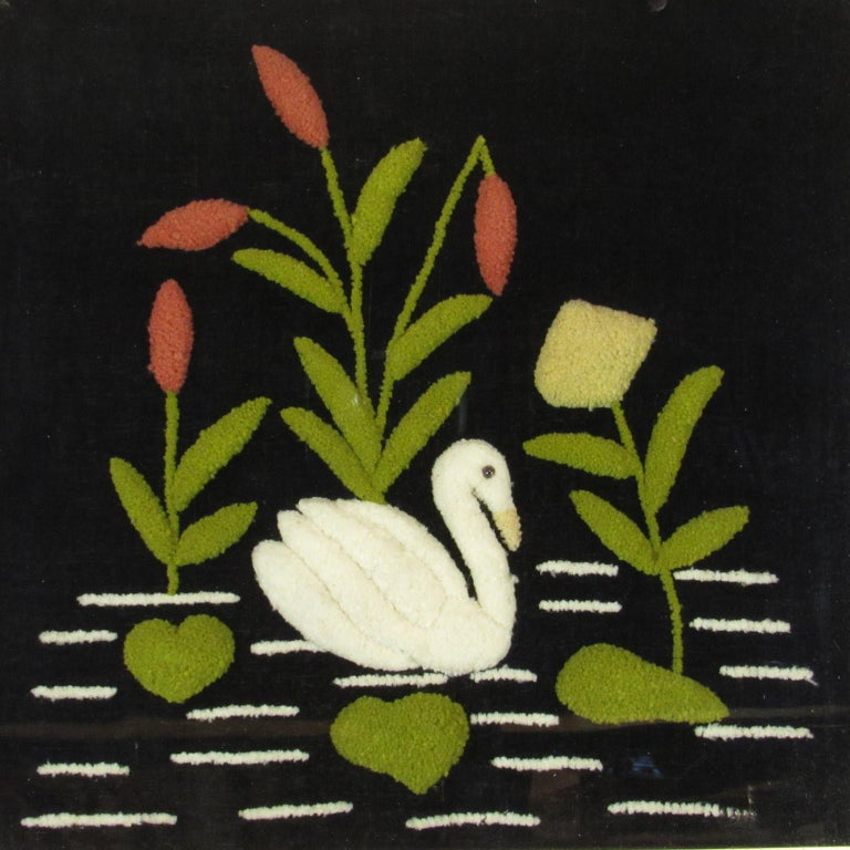 American Antique Folk Art Swan Felted Wool Work Picture For Sale