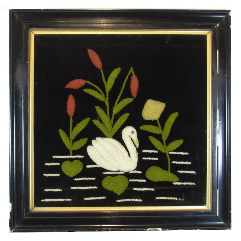 Antique Folk Art Swan Felted Wool Work Picture For Sale