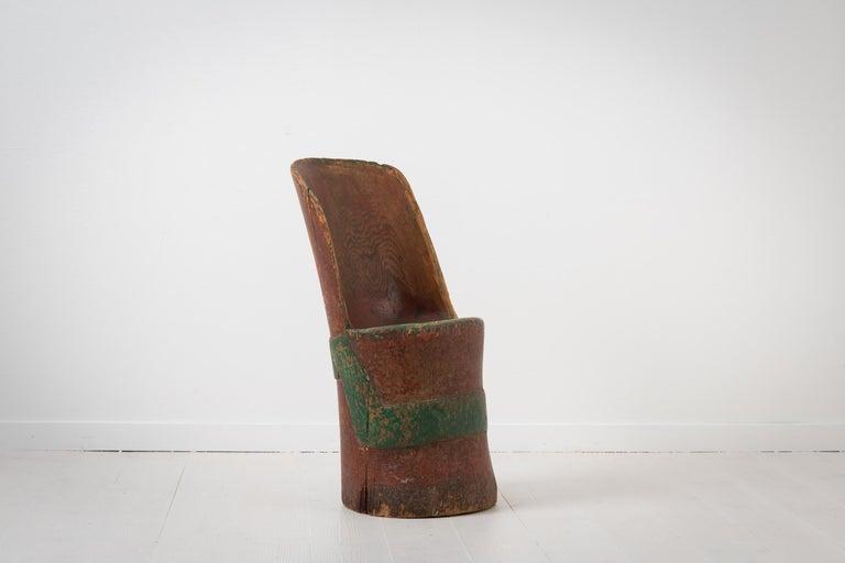 18th Century Antique Folk Art Swedish Rustic Kubbstol For Sale