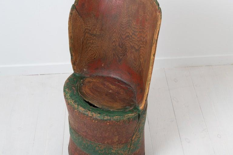Antique Folk Art Swedish Rustic Kubbstol For Sale 2