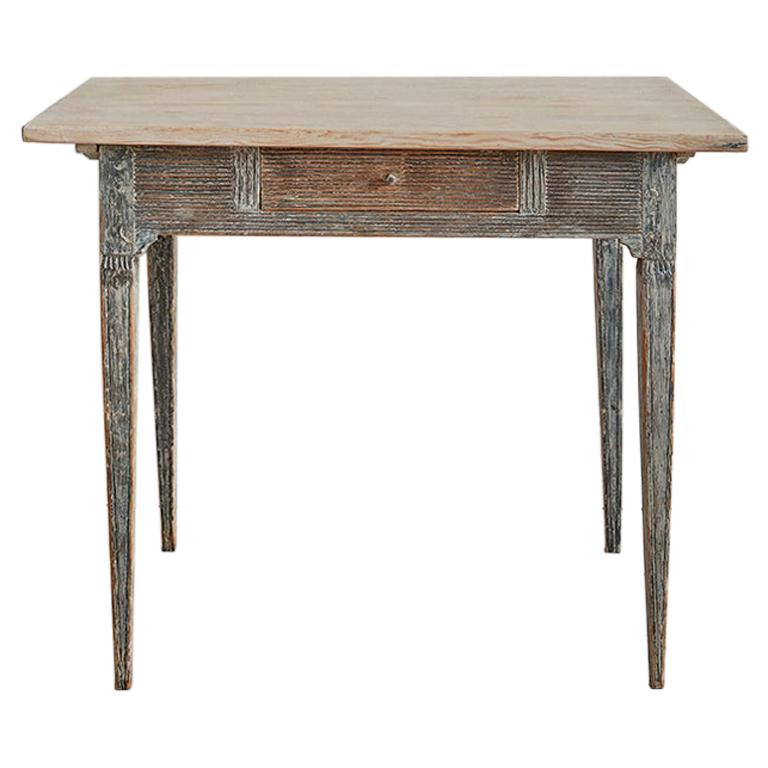 Antique Folk Art Table with Drawer in Painted Pine, Sweden, Late-18th Century
