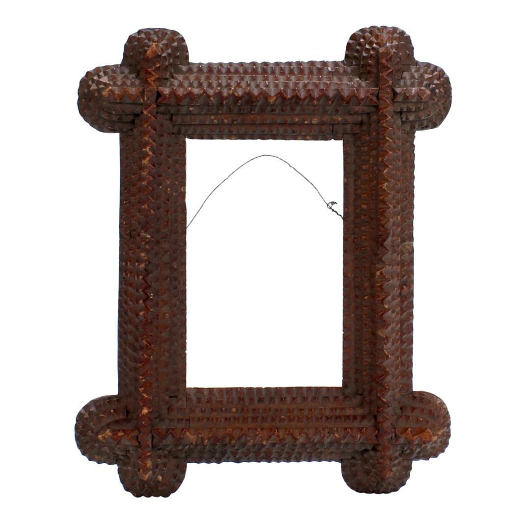 Antique Folk Art / Tramp Art Wooden Picture Frame with 5 Levels