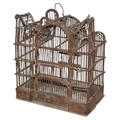 Antique Folk Art Wire/Wood Birdcage