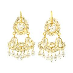 Antique Folkloric Chandelier Earrings