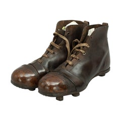 Antique Football / Rugby Boots in Brown Leather with Great Patina