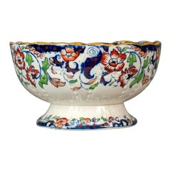 Antique Footed Bowl, Blue, White and Ochre, Ironstone, Fruit, circa 1900