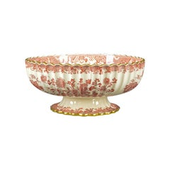Antique Footed Bowl, Red and White, Copeland Spode, Grasshopper, circa 1900