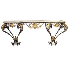 Antique Forged Iron and Gilt Tole Console Table with Marble Top, circa 1850