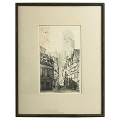 Antique Foster Brothers Framed Etching of Cathedral after K. Conant, circa 1910