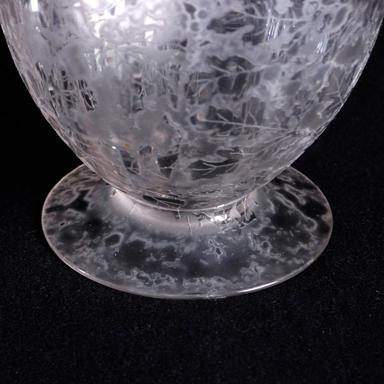 Antique Fostoria Acid Etched Floral Art Glass Footed Vase, 20th Century For Sale 1