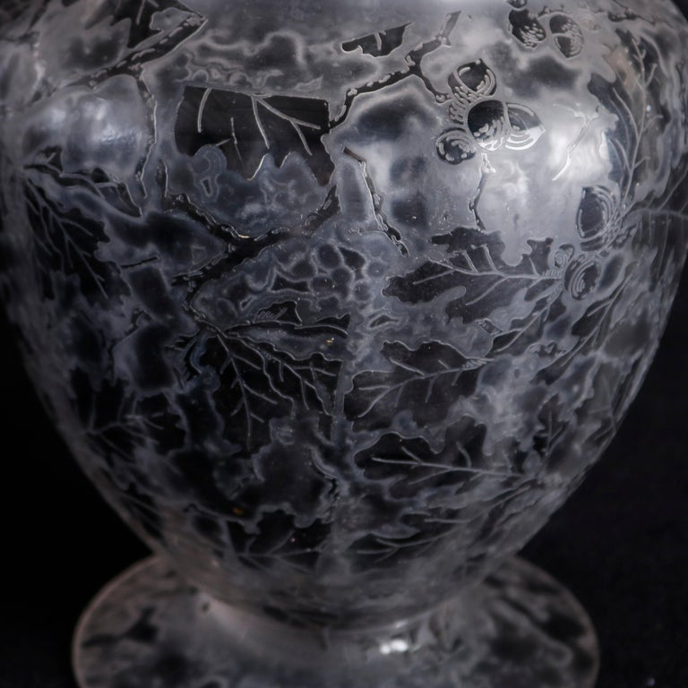 Antique Fostoria Acid Etched Floral Art Glass Footed Vase, 20th Century For Sale 2
