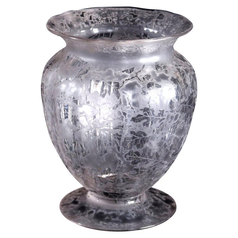Antique Fostoria Acid Etched Floral Art Glass Footed Vase, 20th Century For Sale