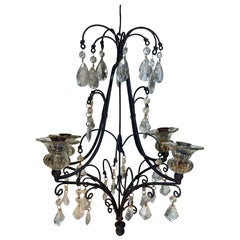 Antique Four Arms Hand Wrought Iron Hanging Chandelier