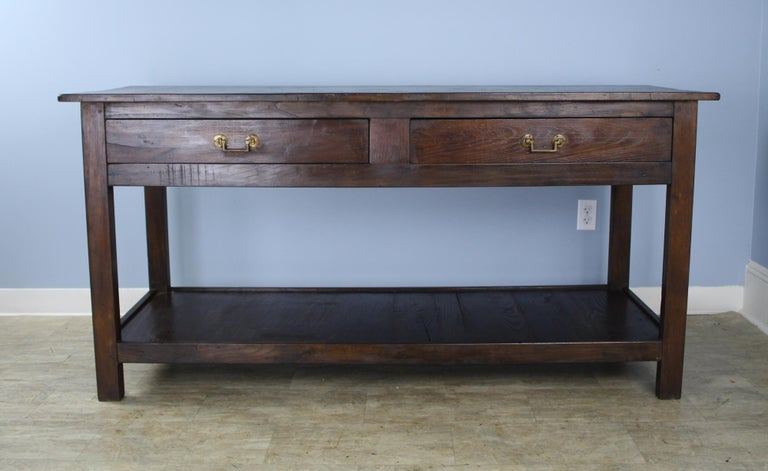 French Antique Four-Drawer Draper's Table, Chestnut Base and Fruitwood Top For Sale