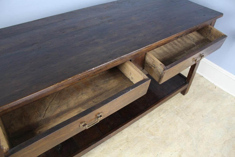 Antique Four-Drawer Draper's Table, Chestnut Base and Fruitwood Top For Sale 1