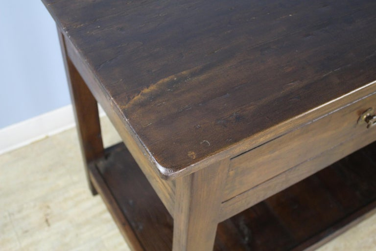Antique Four-Drawer Draper's Table, Chestnut Base and Fruitwood Top For Sale 2