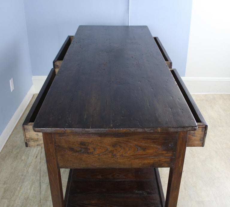 Antique Four-Drawer Draper's Table, Chestnut Base and Fruitwood Top For Sale 3