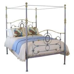 Antique Four-Poster Bed in Blue Verdigris, M4P30