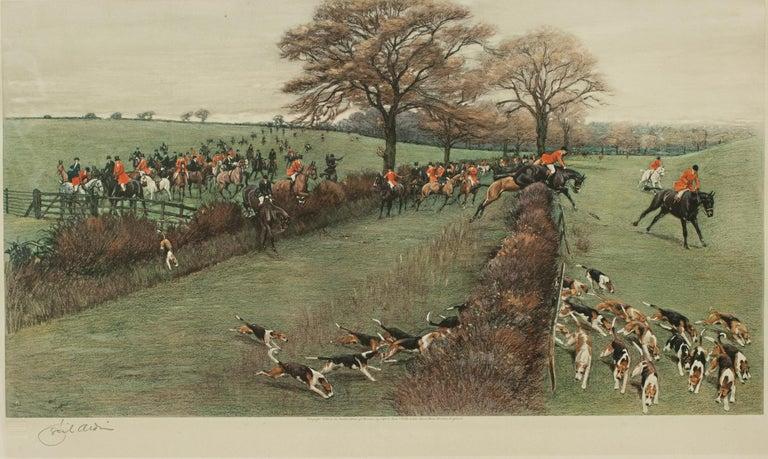 Sporting Art Antique Fox Hunting Print by Cecil Aldin 'South Berks Hunt' For Sale