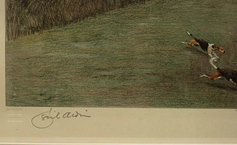 British Antique Fox Hunting Print by Cecil Aldin 'South Berks Hunt' For Sale