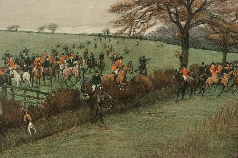 Antique Fox Hunting Print by Cecil Aldin 'South Berks Hunt' In Good Condition For Sale In Oxfordshire, GB