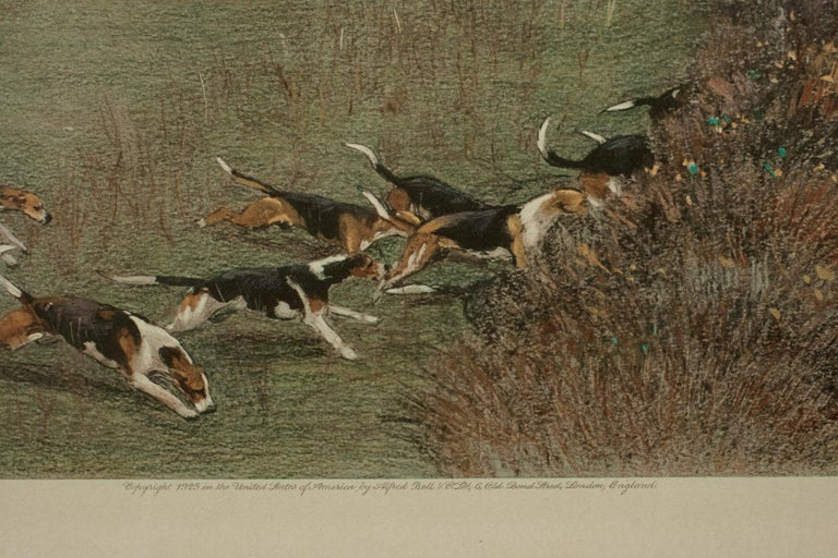 Early 20th Century Antique Fox Hunting Print by Cecil Aldin 'South Berks Hunt' For Sale