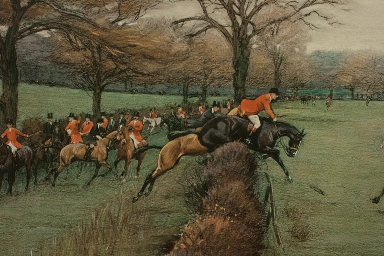 Paper Antique Fox Hunting Print by Cecil Aldin 'South Berks Hunt' For Sale