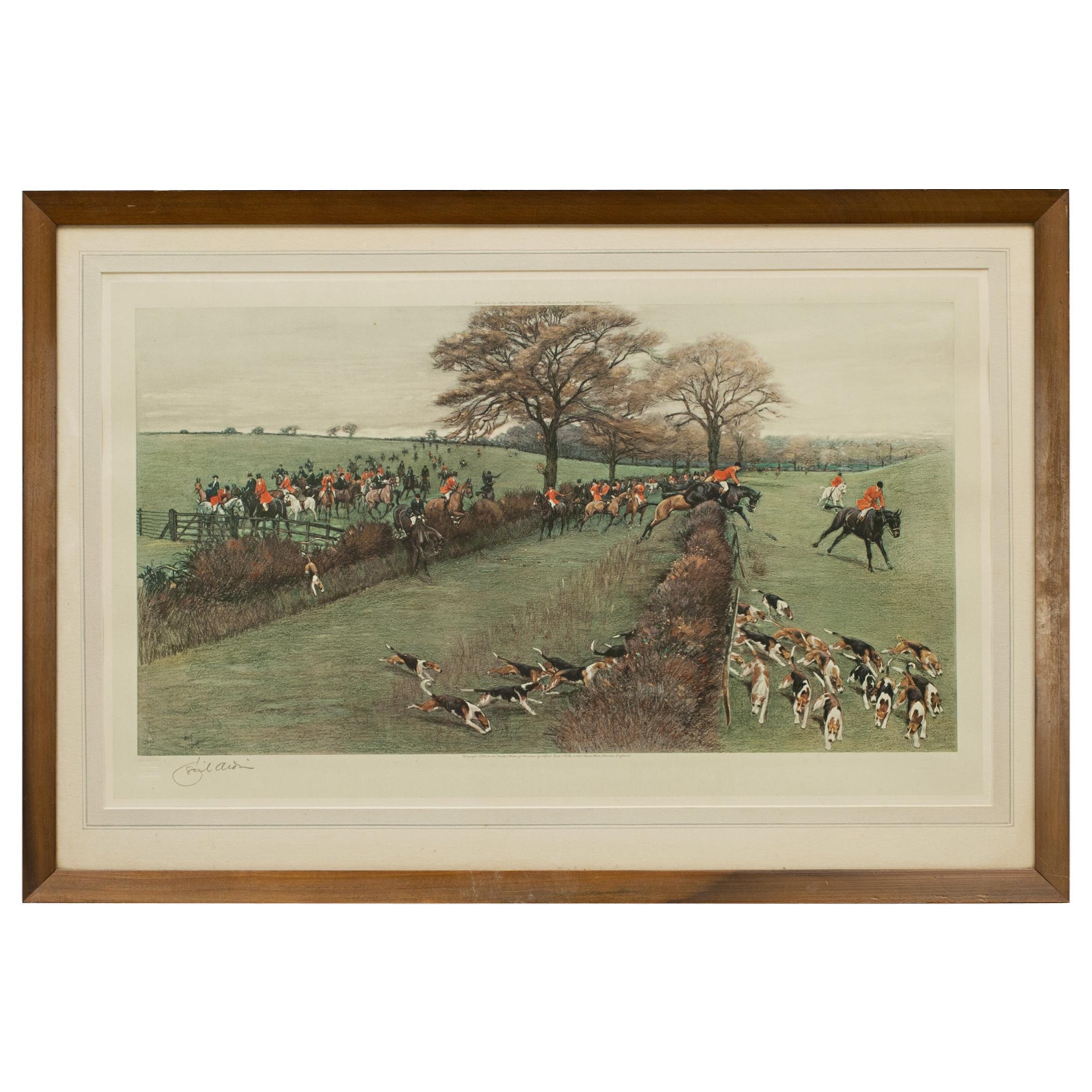 Antique Fox Hunting Print by Cecil Aldin 'South Berks Hunt'