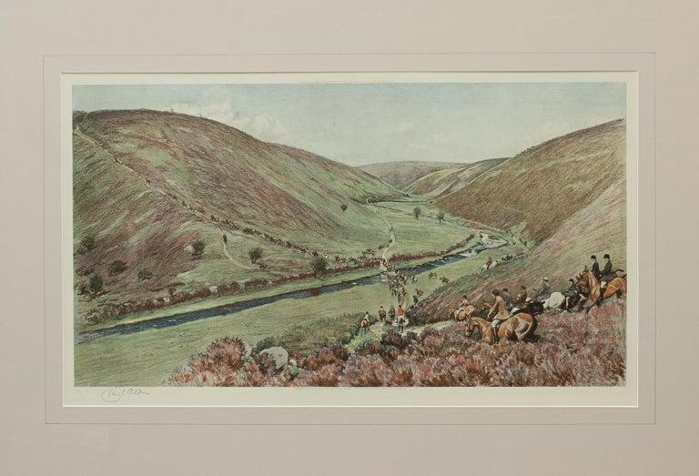 Sporting Art Antique Fox Hunting Print Devon & Somerset Crossing Badgworthy Water Cecil Aldin For Sale