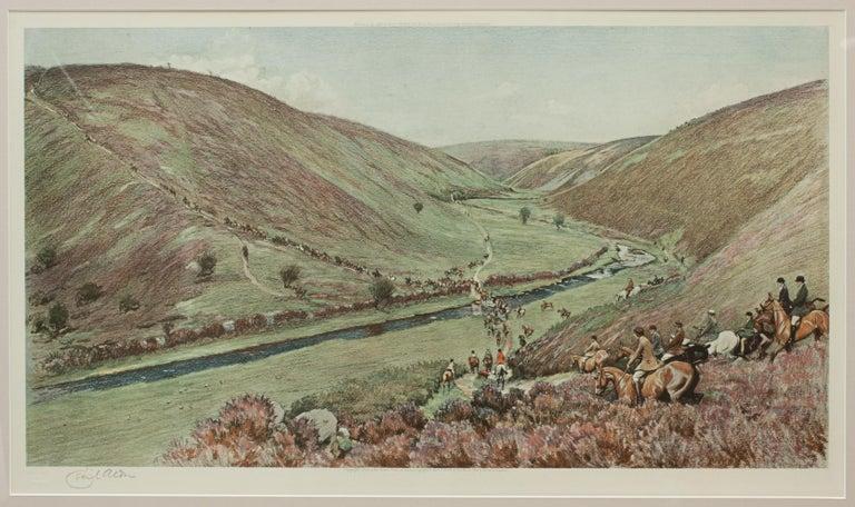 British Antique Fox Hunting Print Devon & Somerset Crossing Badgworthy Water Cecil Aldin For Sale