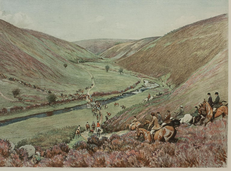 Antique Fox Hunting Print Devon & Somerset Crossing Badgworthy Water Cecil Aldin In Good Condition For Sale In Oxfordshire, GB