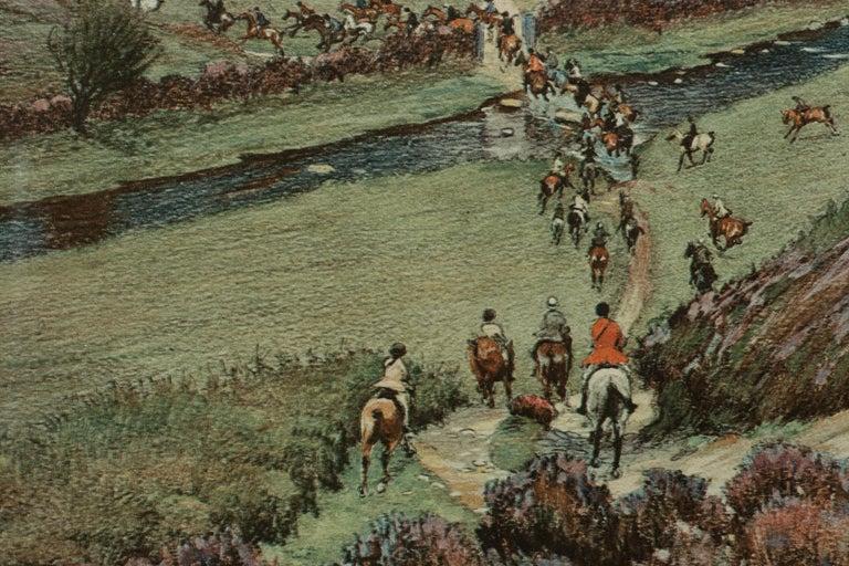 Antique Fox Hunting Print Devon & Somerset Crossing Badgworthy Water Cecil Aldin For Sale 2