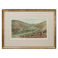 Antique Fox Hunting Print Devon & Somerset Crossing Badgworthy Water Cecil Aldin