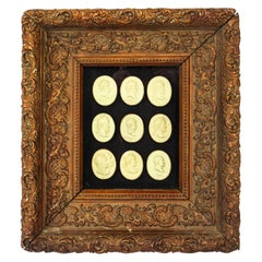 Antique Framed Collection Grand Tour Portrait Bust Medallions 18th C