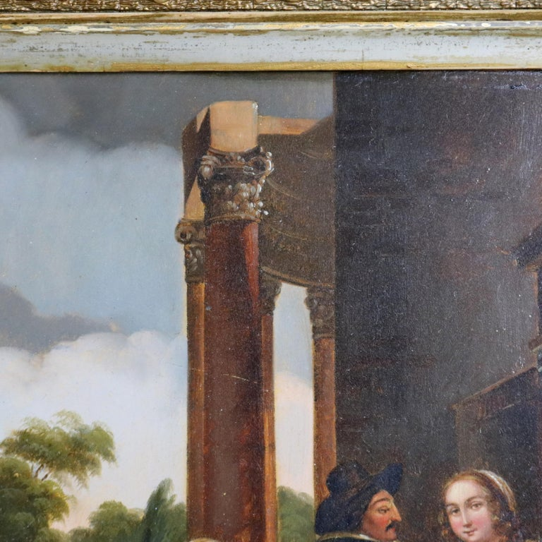 Antique Framed Continental Oil on Canvas Genre Scene with Figures, circa 1890 In Good Condition For Sale In Big Flats, NY