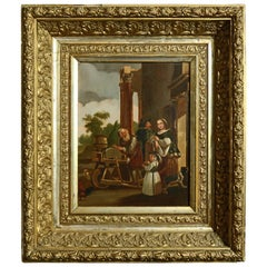 Antique Framed Continental Oil on Canvas Genre Scene with Figures, circa 1890